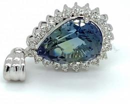 Tanzanite 6.83ct Natural Diamonds Solid 18K White Gold Pendant, Natural and