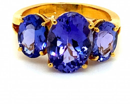 High Grade Tanzanite 7.11ct Solid 22K Yellow Gold Multistone Ring