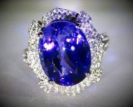 Tanzanite 14.58ct GIA Certified Natural Diamonds Solid 18K White Gold Cockt