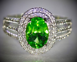 Tsavorite 2.40ct Natural Diamonds Solid 950 Platinum Ring, Appraised, Ring
