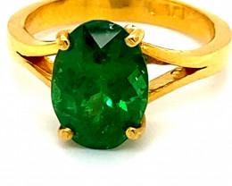 GIA Tsavorite 4.04ct Solid 22K Yellow Gold Ring