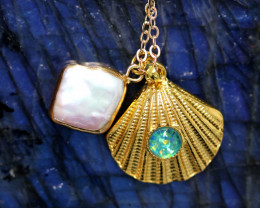 Sea Collection -Pearl & Opal Shell Pendant  CCC 1424