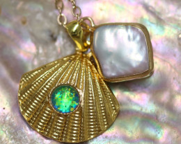 Sea Collection -Pearl & Opal Shell Pendant  CCC 1425