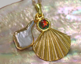 Sea Collection -Pearl & Opal Shell Pendant  CCC 1427