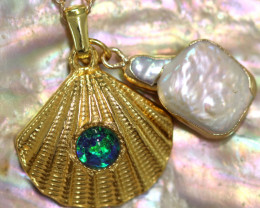 Sea Collection -Pearl & Opal Shell Pendant  CCC 1428