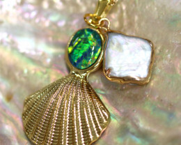 Sea Collection -Pearl & Opal Shell Pendant  CCC 1435