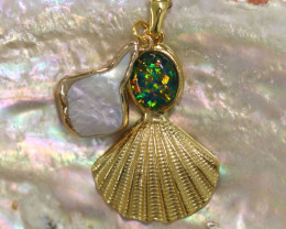 Sea Collection -Pearl & Opal Shell Pendant  CCC 1436