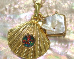 Sea Collection -Pearl & Opal Shell Pendant  CCC 1437