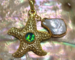 Sea Collection -Fresh water Pearl & Opal Star  Pendant  CCC 1439