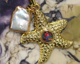 Sea Collection -Fresh water Pearl & Opal Star  Pendant  CCC 1442