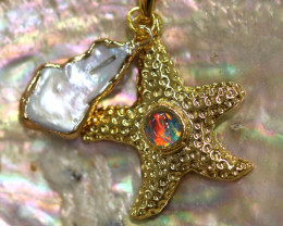 Sea Collection -Fresh water Pearl & Opal Star  Pendant  CCC 1443