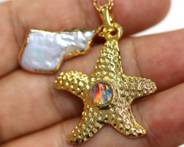 Sea Collection -Fresh water Pearl & Opal Star  Pendant  CCC 1444