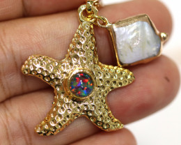 Sea Collection -Fresh water Pearl & Opal Star  Pendant  CCC 1445