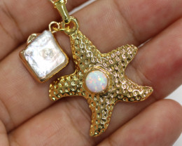 Sea Collection -Fresh water Pearl & Opal Star  Pendant  CCC 1446