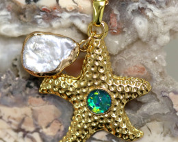Sea Collection -Fresh water Pearl & Opal Star  Pendant  CCC 1433