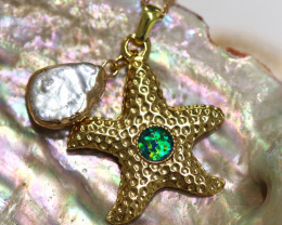 Sea Collection -Fresh water Pearl & Opal Star  Pendant  CCC 1448