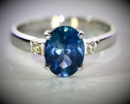 Umba Blue Sapphire 2.00ct Natural Diamonds Solid 18K White Gold Ring