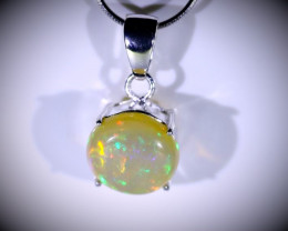 Welo Opal 4.35ct Platinum Finish Solid 925 Sterling Silver Pendant