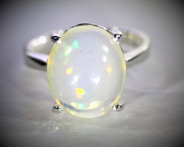 White Opal 6.50ct Platinum Finish Solid 925 Sterling Silver Ring