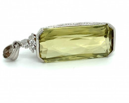 Kunzite 29.19ct Natural Diamonds Solid 18K White Gold Pendant