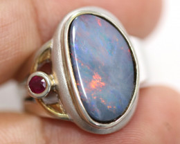Opal Doublet & Ruby Silver ring Size 8 code CCC 1449