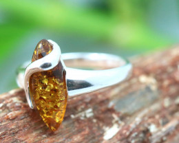 Natural Baltic Amber Sterling Silver Ring size 9 code GI 439