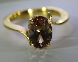 Imperial Garnet 4.02ct Solid 18K Yellow Gold Ring