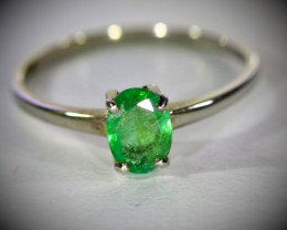 Emerald .50ct Platinum Finish Solid Real (not indian that turns your finger