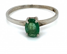 Emerald .50ct Platinum Finish Solid 925 Sterling Silver Ring