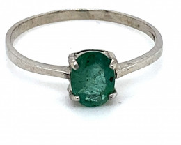 Emerald .75ct Platinum Finish Solid 925 Sterling Silver Ring