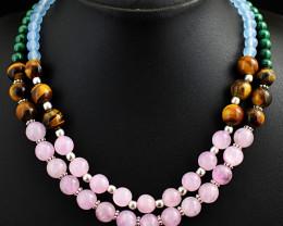 2 Line Chalcedony , Tiger Eye , Rose Quartz, Malachite Beads Necklace