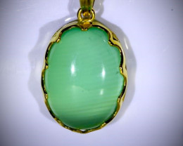 Green Cats Eye Calcite 5.25ct Solid 18K Yellow Gold Pendant