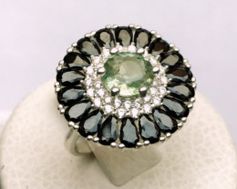 36ct Natural Apatite In 925  Sterling Silver Ring.