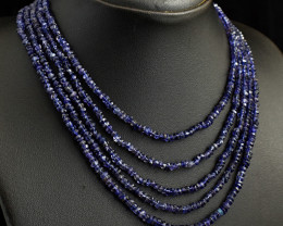 5 Line Iolite Faceted Beads Necklace