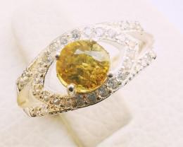 15ct Natural Mali Garnet In 925 Sterling Silver Ring.