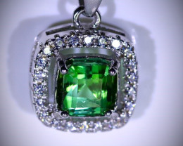 Green Tourmaline 1.01ct White Gold Finish Solid 925 Sterling Silver Pendant