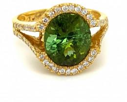 Green Tourmaline 5.60ct Diamonds Solid 21K Yellow Gold Ring