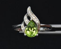 Natural Peridot , CZ and 925 Silver Ring