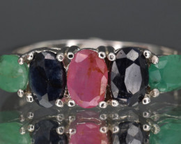 Natural Sapphire , Emerald , Ruby  and 925 Silver Ring