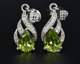 NaturalPeridot  , CZ and 925 Silver Earrings