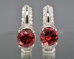 Natural Rhodolite  , CZ and 925 Silver Earrings