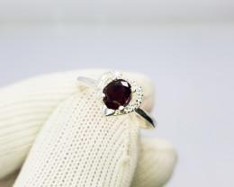 Natural Rhodolite Garnet Raspberry Rose Ring 925 Sterling Silver