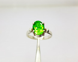 Natural Green Chrysolite (Peridot) In Sterling Silver Ring