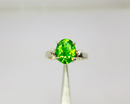 Natural Olive Green Chrysolite (Peridot) In Sterling Silver Ring