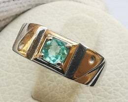 16.80ct Natural Blue Color Apatite in 925 Sterling Silver Ring.