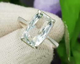 Natural Blue Aquamarine 13.75 Carats Hand Made Silver Ring