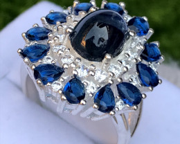 33ct Natural (Heated) Sapphire with CZ in Sterling Silver Ring.