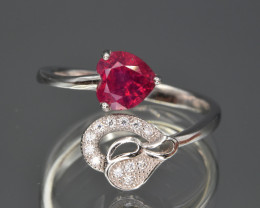 Natural Ruby, CZ and 925 Silver Ring Lovely Design