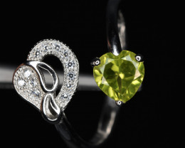 Natural Peridot, CZ and 925 Silver Ring Lovely Design