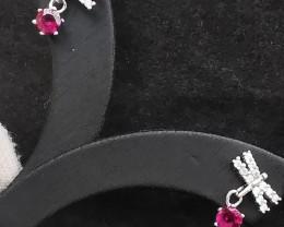 9.50ct Natural Rhodolite Garnet In 925 Sterling Silver Earrings.
